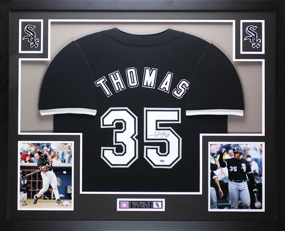 c1c2114d14b Frank Thomas Signed White Sox 35x43 Custom Framed Jersey (Leaf COA) at  PristineAuction.