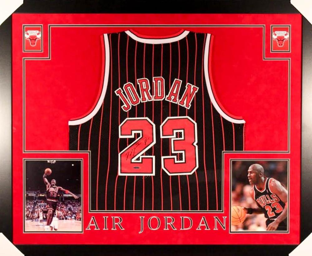 4e185c6ae6f377 Michael Jordan Signed Bulls 35x43 Custom Framed Jersey (UDA COA) at  PristineAuction.com ...