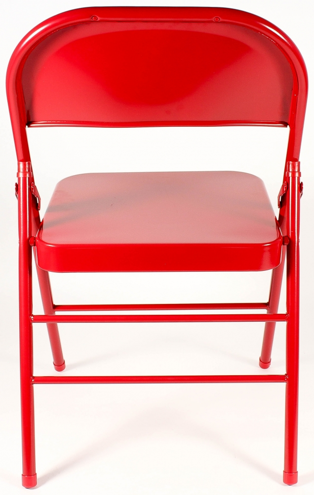 Beautiful Red Metal Folding Chairs Signed Chair Schwartz Coa At Pristineauctioncom L With Decor