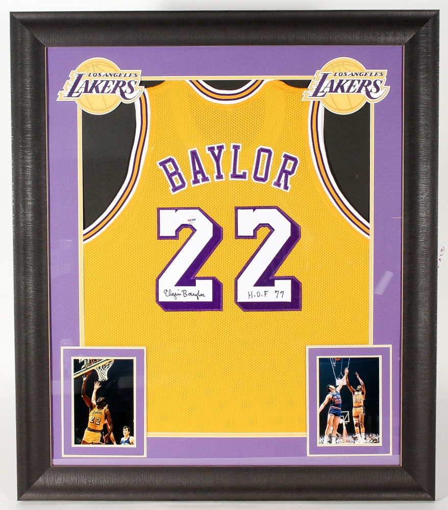 1ee5261b68d8 Elgin Baylor Signed Lakers 31x36 Custom Framed Jersey Display Inscribed