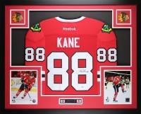 "Patrick Kane Signed 35"" x 43"" Custom Framed Jersey (PSA COA) at PristineAuction.com"