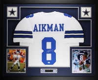"Troy Aikman Signed Cowboys 35"" x 43"" Custom Framed Jersey (JSA COA)"