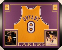 Kobe Bryant Signed Lakers 35x43 Custom Framed Jersey (PSA COA)