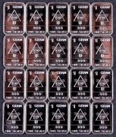 Lot of (20) 1 Gram .999 Silver Illuminati Bullion Bars