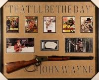 "John Wayne Signed 33x41x2 Custom Framed Rifle Shadowbox Display with Hand-Signed Cut Inscribed ""Good Luck"" (PSA Encapsulated & PSA LOA)"