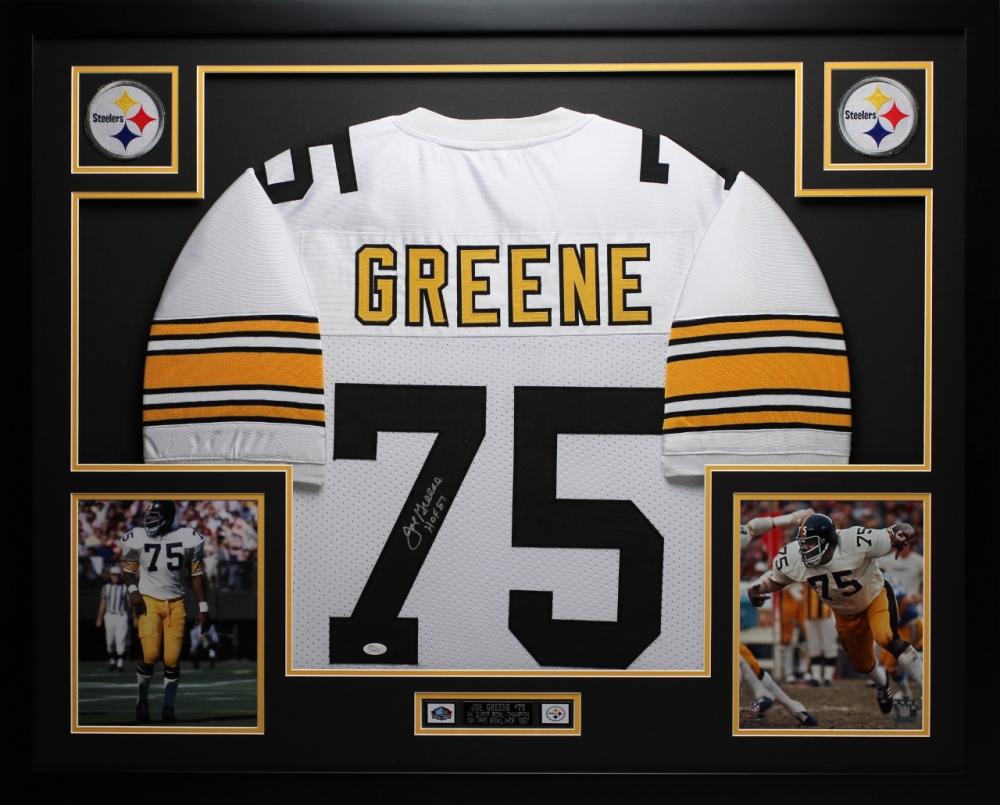 "Joe Greene Signed Steelers 35"" x 43"" Custom Framed Jersey Inscribed..."