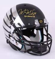 """Marcus Mariota Signed Oregon Ducks Custom Matte Black Full-Size Helmet Inscribed """"Heisman '14"""" (Mariota Hologram)"""