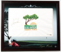 Tiger Woods Signed LE 2008 U.S. Open 23x26 Custom Framed Golf Pin Flag Display #332/500 (UDA COA) at PristineAuction.com