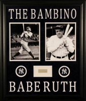 Babe Ruth Signed Yankees 23x27 Custom Framed Cut Display (PSA LOA)