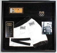 Muhammad Ali Signed LE 1960 Olympics 40x42x4 Custom Framed Boxing Robe Shadow Box Display with Full Unused Cassius Clay 1960 Rome Olympics Ticket (JSA LOA & Online Authentics LOA)