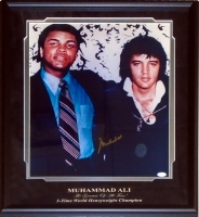 Muhammad Ali Signed 16x20 Custom Framed Photo Display With Elvis Presley (JSA LOA)