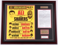 Earnie Shavers & Muhammad Ali Signed 25x31 Custom Framed Replica 1977 Fight Poster Display with Signed Cut & Replica Contract (JSA LOA & Shavers Hologram)