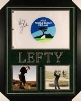 "Phil Mickelson Signed 27x33 Custom Framed ""AT&T Pebble Beach Pro-AM"" Golf Flag Display (JSA COA)"