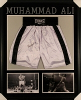 Muhammad Ali Signed 35x43 Custom Framed Boxing Trunks Display (Steiner COA) at PristineAuction.com