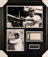 Jackie Robinson Signed Dodgers 23x27 Custom Framed Index Card Display with Extensive Inscription (PSA Encapsulated)
