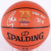 """Stephen Curry Signed LE """"73 Wins"""" Official NBA Game Ball Series Basketball Inscribed """"NBA Rec 73-9"""" (Fanatics Hologram) at PristineAuction.com"""