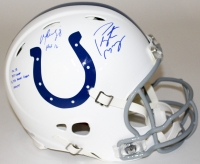 Peyton Manning & Marvin Harrison Signed LE Colts Full-Size Authentic Pro-Line Speed Helmet With (4) Inscriptions (Steiner COA & Fanatics Hologram)