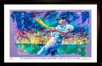 """Joe DiMaggio Yankees 11x17 """"56 Game Hitting Streak Record"""" Signed Winford Limited Edition Lithograph #/199 (Winford COA)"""