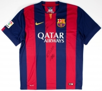 "Lionel Messi, Andres Iniesta & Luis Suarez ""Tres Amigos"" Multi-Signed FC Barcelona Home Jersey (Icons COA)"