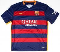 "Lionel Messi, Neymar Jr. & Luis Suarez ""Tres Amigos"" Multi-Signed FC Barcelona Home Jersey (Icons COA)"