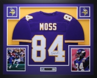 Randy Moss Signed Minnesota Vikings 35x43 Custom Framed Jersey (JSA COA)