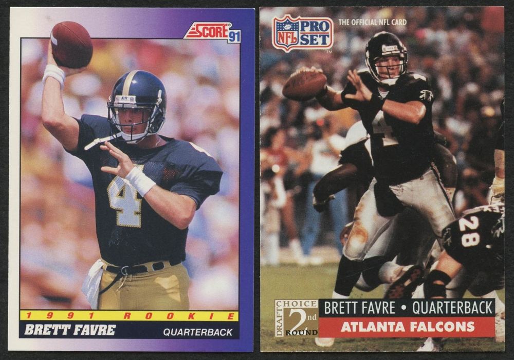 Lot Of 2 Brett Favre Rookie Cards With 1991 Pro Set 762 RC