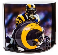 "Eric Dickerson Signed LE Rams Full-Size Authentic Pro-Line Helmet Inscribed ""HOF 99"" & ""2105 YDs"" With Custom Curve Display Case (Steiner COA) at PristineAuction.com"