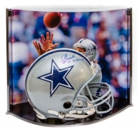 "Jay Novacek Signed LE Dallas Cowboys Full-Size Authentic On-Field Helmet Inscribed ""3X SB Champs"" with Custom Curve Display Case (Steiner COA)"