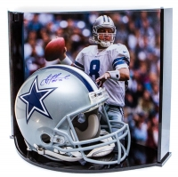"Troy Aikman Signed LE Dallas Cowboys Full-Size Authentic On-Field Helmet Inscribed ""HOF '06"" with Custom Curve Display Case (Steiner COA)"