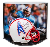 "Warren Moon Signed LE Oilers Full-Size Authentic Pro-Line Helmet Inscribed ""HOF 06"" & ""Run-N-Shoot"" With Custom Curve Display Case (Steiner COA)"