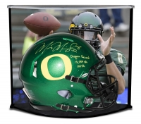"Marcus Mariota Signed LE Oregon Ducks Full-Size Authentic On-Field Speed Helmet Inscribed ""Oregon Record: 13,089 Yds"" & ""105 Tds"" with Custom Curve Display Case (Steiner COA)"