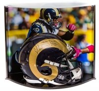 """Todd Gurley Signed LE Rams Full-Size Authentic Pro-Line Helmet Inscribed """"ROY 15,"""" """"1106 Yds,"""" & """"10 TDs"""" With Custom Curve Display Case (Steiner COA) at PristineAuction.com"""