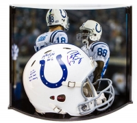 Peyton Manning & Marvin Harrison Signed LE Colts Full-Size Authentic Pro-Line Speed Helmet With (4) Inscriptions With Custom Curve Display Case (Steiner COA & Fanatics Hologram)