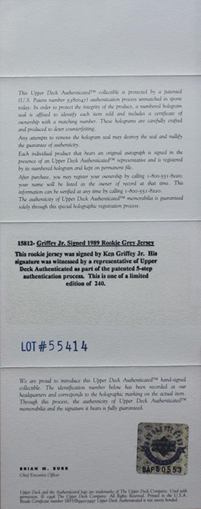 09e7d27ee16 Ken Griffey Jr. Signed Mariners 35