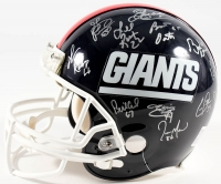 """Team-Signed Giants Full-Size Authentic Pro-Line Helmet With (26) Signatures Including Phill Simms, Lawrence Taylor, Gary Reasons, Eric Dorsey, Harry Carson Inscribed """"S.B. XXI M.V.P."""" (JSA COA)"""