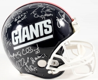"Team-Signed Giants Full-Size Authentic Pro-Line Helmet With (26) Signatures Including Phill Simms, Lawrence Taylor, Gary Reasons, Eric Dorsey, Harry Carson Inscribed ""S.B. XXI M.V.P."" (JSA COA)"