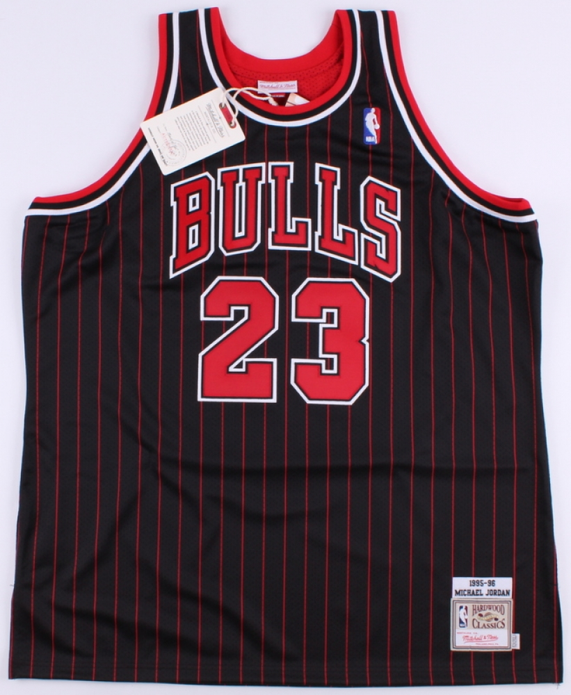 863397df9e08 Michael Jordan Signed Bulls Authentic Mitchell   Ness Pinstripe Alternate  Jersey (UDA COA) at