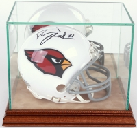 Premium Mini-Helmet Glass Display Case with Tan Suede Walnut Wood Base & Mirrored Back at PristineAuction.com