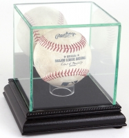 Premium Single Baseball Glass Display Case with Black Suede & Black Wood Base & Mirrored Back