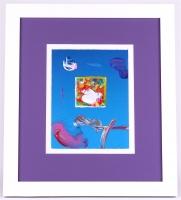 "Peter Max ""Flower Blossom Lady"" Signed 8.5"" x 11"" Original Acrylic Mixed Media Painting 1/1 (Custom Framed to 18.75"" x 21"") (Max LOA)"