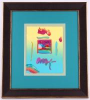 "Peter Max ""Woodstock Series: Cosmis Sunrise"" Signed 8.5"" x 11"" Original Acrylic Mixed Media Painting 1/1 (Custom Framed to 20"" x 22"") (Max LOA)"