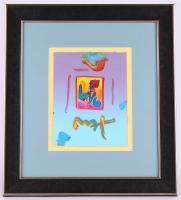 "Peter Max ""Love"" Signed 8.5"" x 11"" Original Acrylic Mixed Media Painting 1/1 (Custom Framed to 20"" x 22"") (Max LOA)"