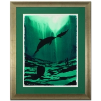 """Wyland """"Dolphin & Baby"""" Signed Original 22.5"""" x 30.5"""" Watercolor on Deckle-Edge Paper (Custom Framed to 35"""" x 42"""")"""