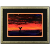 """Wyland """"Sunset with Whale Tail"""" Signed Original 23"""" x 14.5"""" Watercolor on Deckle-Edge Paper (Custom Framed to 33"""" x 25"""")"""