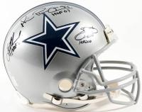 "Emmitt Smith, Troy Aikman & Michael Irvin Signed Cowboys Full-Size Authentic Pro-Line Helmet Inscribed ""HOF 06"", ""HOF 07"", & ""HOF 2010"" (GTSM)"