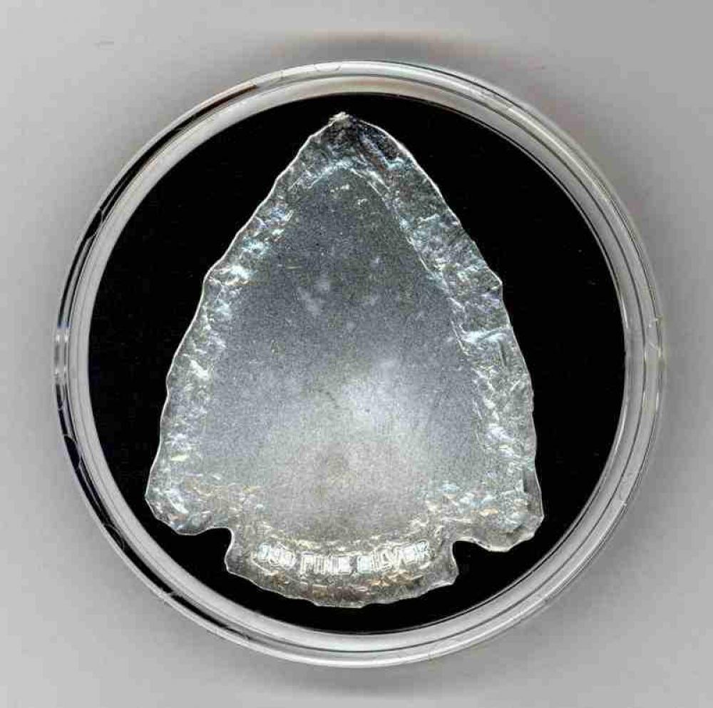 Indian Warrior 1 Troy Ounce 999 Silver Arrowhead Pristine Auction