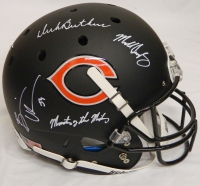 Dick Butkus & Mike Singletary & Brian Urlacher Signed Bears Custom Black Matte Replica Helmet w/Monsters of the Midway at PristineAuction.com