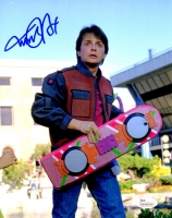 Michael J Fox Signed Back To The Future Holding Hover Board 8x10 Photo at PristineAuction.com