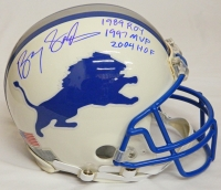 Barry Sanders Signed Detroit Lions Custom White Matted Authentic Helmet w/1989 ROY, 1997 MVP, 2004 HOF at PristineAuction.com