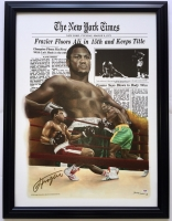 "Joe Frazier Signed ""Muhammad Ali Fight"" 24x32 Custom Framed Canvas Display (PSA COA)"
